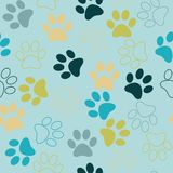 Vector seamless pattern with cat or dog footprints. Cute colorfu Royalty Free Stock Photos