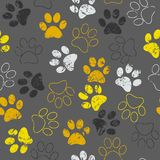Vector seamless pattern with cat or dog footprints. Cute colorful paws. Animal concept. Foot steps. Veterinary vector illustration