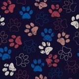 Vector seamless pattern with cat or dog footprints. Cute colorful paws. Animal concept. Foot steps. Veterinary royalty free stock image