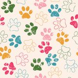 Vector seamless pattern with cat or dog footprints. Cute colorful Royalty Free Stock Images