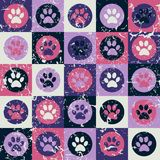 Vector seamless pattern with cat or dog footprints. Cute colorful Royalty Free Stock Photos