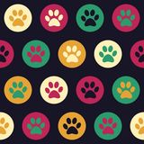 Vector seamless pattern with cat or dog footprints.  Royalty Free Stock Images