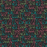 Vector seamless pattern with cats and dogs on. Pets love illustration, seamless pattern with pets and heart Royalty Free Stock Image