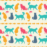 Vector seamless pattern with cats. Seamless pattern with cats , vector silhouette Royalty Free Stock Photos