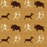 Vector Seamless Pattern with Cave Drawings Theme Stock Images