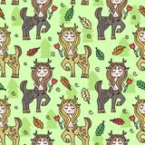 Vector seamless pattern with centaur girl. Colorful childish drawing. Hand-drawn doodles. Textile fr kid`s clothes. royalty free illustration
