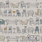 Vector Seamless Pattern with Chairs Doodle. Royalty Free Stock Photo