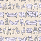 Vector Seamless Pattern with Chairs Doodle and Stripes Background. Royalty Free Stock Photos