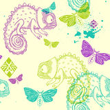 Vector seamless pattern with chameleon and butterflies Stock Photos