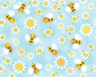 Vector  seamless pattern chamomiles and bees.. Seamless  cute pattern  white chamomiles and bees, soft, blurred effect Stock Photography
