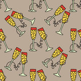 Vector seamless pattern with champagne glass for Christmas holidays and New Year 2017. Vector illustration for Merry Christmas and Happy New Year print design Royalty Free Stock Photography