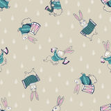 Vector seamless pattern of cheerful hares musicians with musical instruments. Royalty Free Stock Images