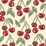 Vector seamless pattern with cherry berries Stock Photography