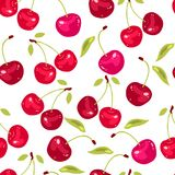Vector seamless pattern with cherry berries Royalty Free Stock Images