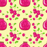 Vector seamless pattern with cherry and jam Stock Photography
