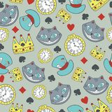 Vector seamless pattern with the of cheshire cat in Wonderland stock illustration