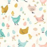 Vector seamless pattern with chicken for Easter and other users. Royalty Free Stock Image