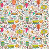 Vector seamless pattern, childish doodles. Pattern ,set of different school, travel, romantic things. Enjoy life concept. Use for vector illustration