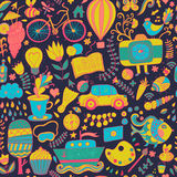Vector seamless pattern, childish doodles. Pattern ,set of diffe Royalty Free Stock Photography