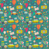 Vector seamless pattern, childish doodles. Pattern ,set of diffe Royalty Free Stock Images