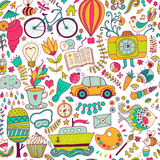 Vector seamless pattern, childish doodles. Pattern ,set of diffe. Rent school, travel, romantic things. Enjoy life concept. Use for wallpaper, pattern fills, web stock illustration