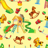 Vector seamless pattern of children playground. Stock Image