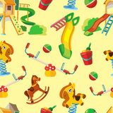 Vector seamless pattern of children playground. Stock Images