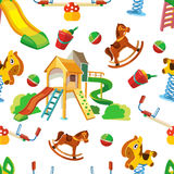 Vector seamless pattern of children playground. Royalty Free Stock Photos