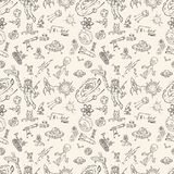 Seamless pattern childrens drawings on space theme, science and the appearance of life on earth, Doodle style. Vector seamless pattern with childrens drawings on royalty free illustration