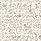 Seamless pattern childrens_1_drawings on space theme, science and the appearance of life on earth, Doodle style. Vector seamless pattern with childrens drawings vector illustration