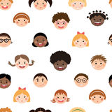 Vector seamless pattern with chlidren's smiling faces. Stock Photography