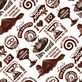 Vector seamless pattern of chocolate labels Stock Photos