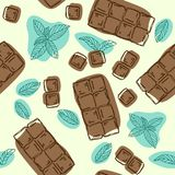 Vector seamless pattern with chocolate and mint flavor. Food background. Hand drawn illustration. Vector seamless pattern with chocolate and mint flavor. Food vector illustration