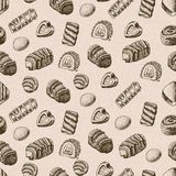 Vector seamless pattern with chocolates Stock Photography