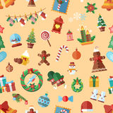 Vector seamless pattern with Christmas accessories. Stock Vector seamless pattern with Christmas accessories, design elements in a flat style on beige background Stock Photography