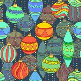 Vector seamless pattern with christmas balls Hanging Stock Images