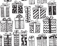 Vector seamless pattern with Christmas or birthday ornate present boxes