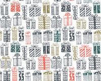 Vector seamless pattern with Christmas or birthday ornate present boxes Stock Images