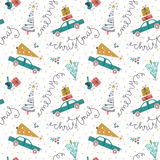 Vector seamless pattern with christmas cars, gifts and fir trees. Holiday new year hand drawn fabric design Stock Photo