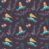 Vector seamless pattern with christmas cars, gifts and fir trees. Holiday new year hand drawn fabric design Royalty Free Stock Photography