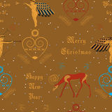 Vector seamless pattern. Christmas golden angels Stock Photography