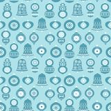 Vector seamless pattern with Christmas ornaments. In blue and white colors for greeting cards, wrapping paper, backgrounds and holiday designs Royalty Free Stock Photo