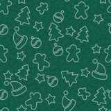 Christmas pattern in outline style. Royalty Free Stock Photos