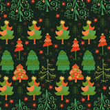 Vector seamless pattern of christmas tree. Christmas pattern - varied Xmas trees and snowflakes Stock Images