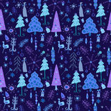 Vector seamless pattern of christmas tree. Christmas pattern - varied Xmas trees and snowflakes Stock Photo