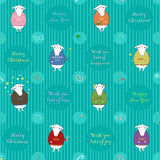 Vector seamless pattern. Christmas white sheeps wearing colored Stock Images