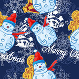 Vector seamless pattern. Christmas and winter theme. Snowmen. Royalty Free Stock Photography