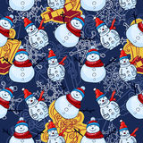 Vector seamless pattern. Christmas and winter theme. Snowmen. Royalty Free Stock Photos
