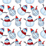 Vector seamless pattern. Christmas and winter theme. Snowmen. Stock Photos