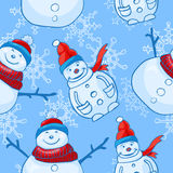 Vector seamless pattern. Christmas and winter theme. Snowmen. Stock Images